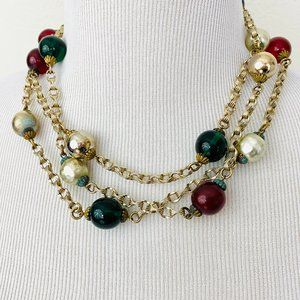 Vintage 1970s Does 1920s Long Bead Necklace